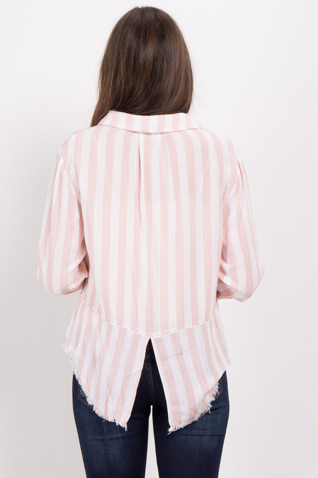 Light Pink Striped Button Up Top