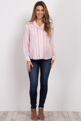 Light Pink Striped Button Up Maternity Top