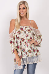 Ivory Floral Button Front Cold Shoulder Top