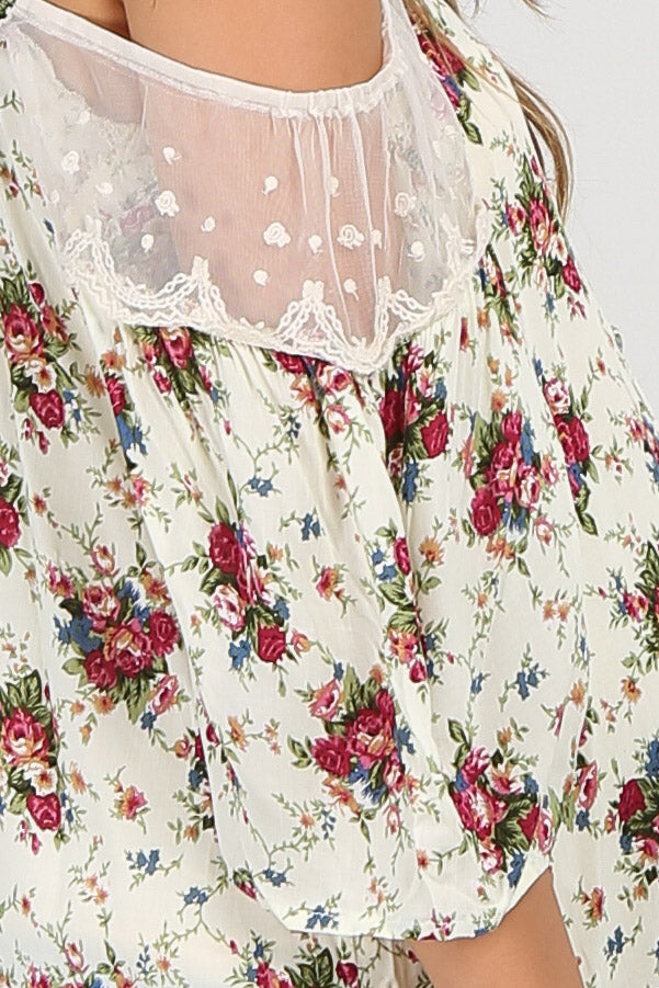 Ivory Floral Button Front Cold Shoulder Maternity Top