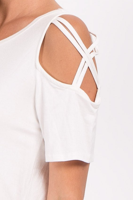 White Crisscross Open Shoulder Top