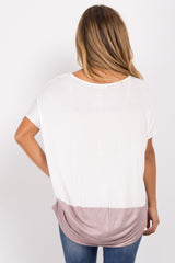 Mauve Colorblock Short Sleeve Maternity Top