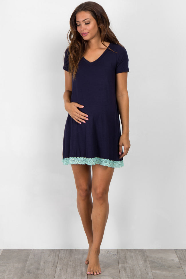 Navy Blue Lace Trim V-Neck Maternity Sleep Dress