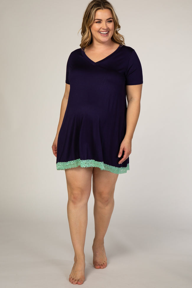 PinkBlush Navy Blue Lace Trim V-Neck Plus Maternity Sleep Dress