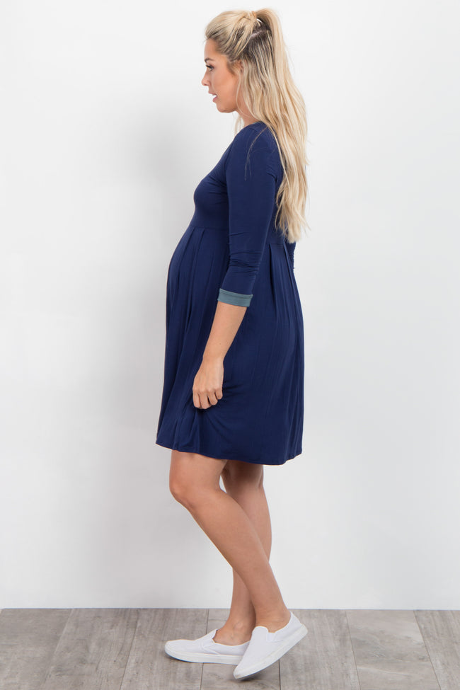 Navy Blue Green Trim 3/4 Sleeve Maternity Dress
