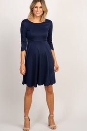 PinkBlush Navy Solid Scalloped Hem Dress