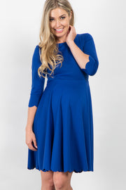 Royal Blue Solid Scalloped Hem Maternity Dress
