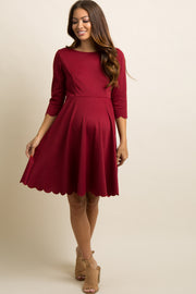 PinkBlush Burgundy Solid Scalloped Hem Maternity Dress
