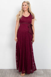 Burgundy Lace Sash Tie Maternity Gown