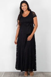 Black Lace Sash Tie Plus Maternity Dress