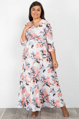 Ivory Floral Print Sash Tie Plus Maxi Dress