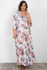 Ivory Floral Print Sash Tie Plus Maternity/Nursing Maxi Dress