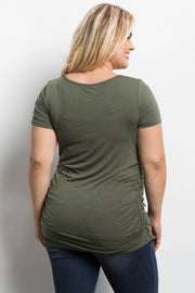 PinkBlush Green Ruched Short Sleeve Plus Top