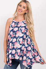 Navy Rose Floral Asymmetric Maternity Top