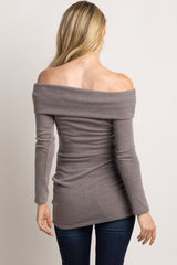 Mocha Off Shoulder Maternity Knit Tunic