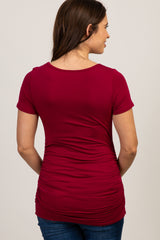 PinkBlush Burgundy Ruched Short Sleeve Maternity Top