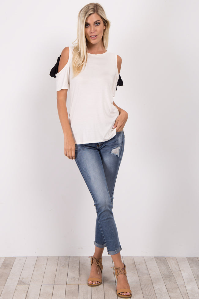 White Cold Shoulder Tie Accent Top