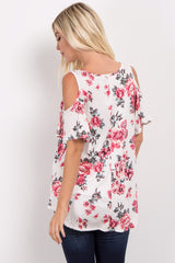 Ivory Floral Cold Shoulder Top