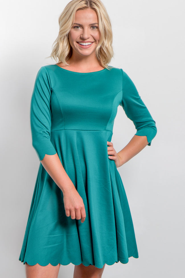 Jade Solid Scalloped Hem Dress