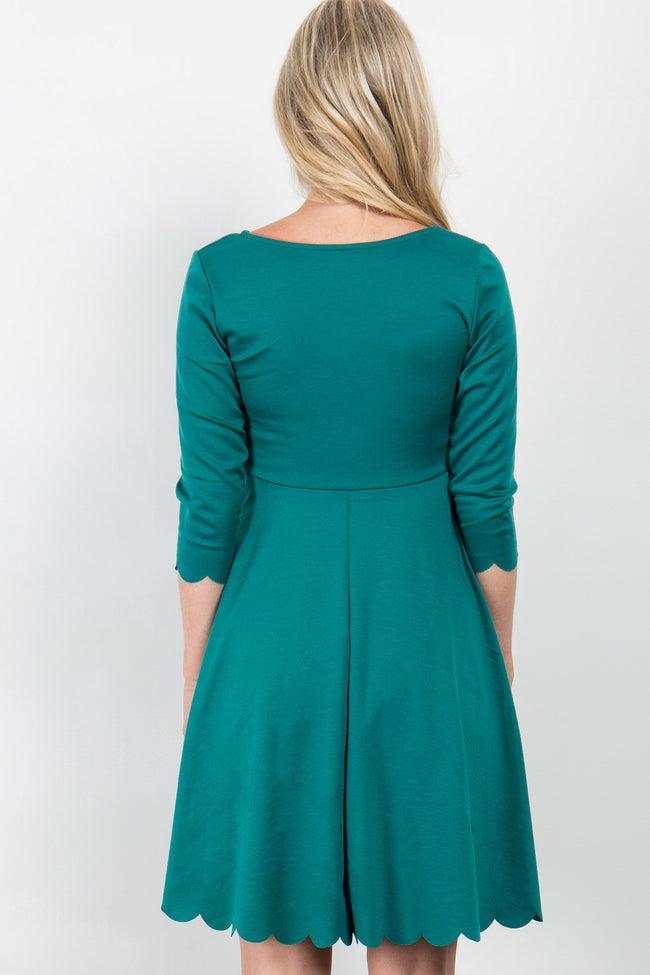 Jade Solid Scalloped Hem Maternity Dress