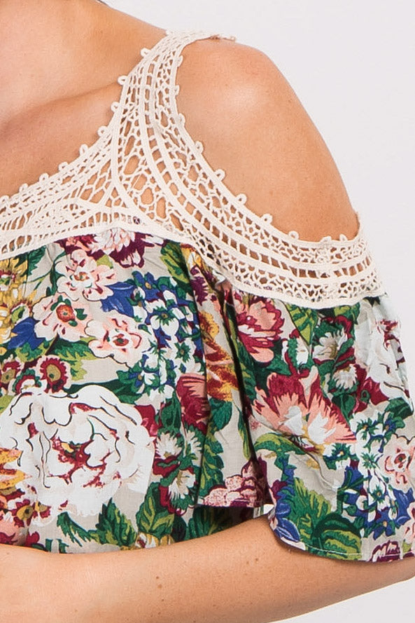 Cream Floral Print Crochet Cold Shoulder Top