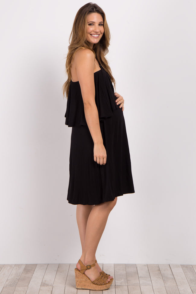 Black Flounce One-Shoulder Maternity Dress