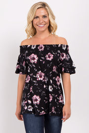 Black Floral Off Shoulder Ruffle Sleeve Top