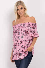 Pink Floral Off Shoulder Ruffle Sleeve Top