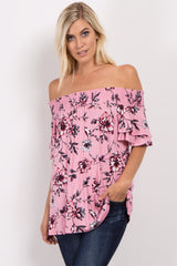 Pink Floral Off Shoulder Ruffle Sleeve Maternity Top