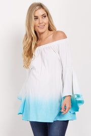 Turquoise Ombre Off Shoulder Bell Sleeve Maternity Top
