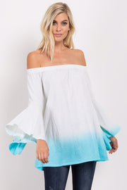 Turquoise Ombre Off Shoulder Bell Sleeve Top