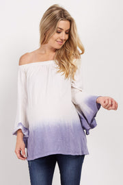 Lavender Ombre Off Shoulder Bell Sleeve Maternity Top