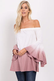 Mauve Ombre Off Shoulder Bell Sleeve Top