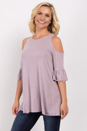 Lavender Cold Shoulder Ruffle Sleeve Top
