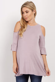 Lavender Cold Shoulder Ruffle Sleeve Maternity Top
