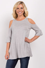 Heather Grey Cold Shoulder Ruffle Sleeve Top
