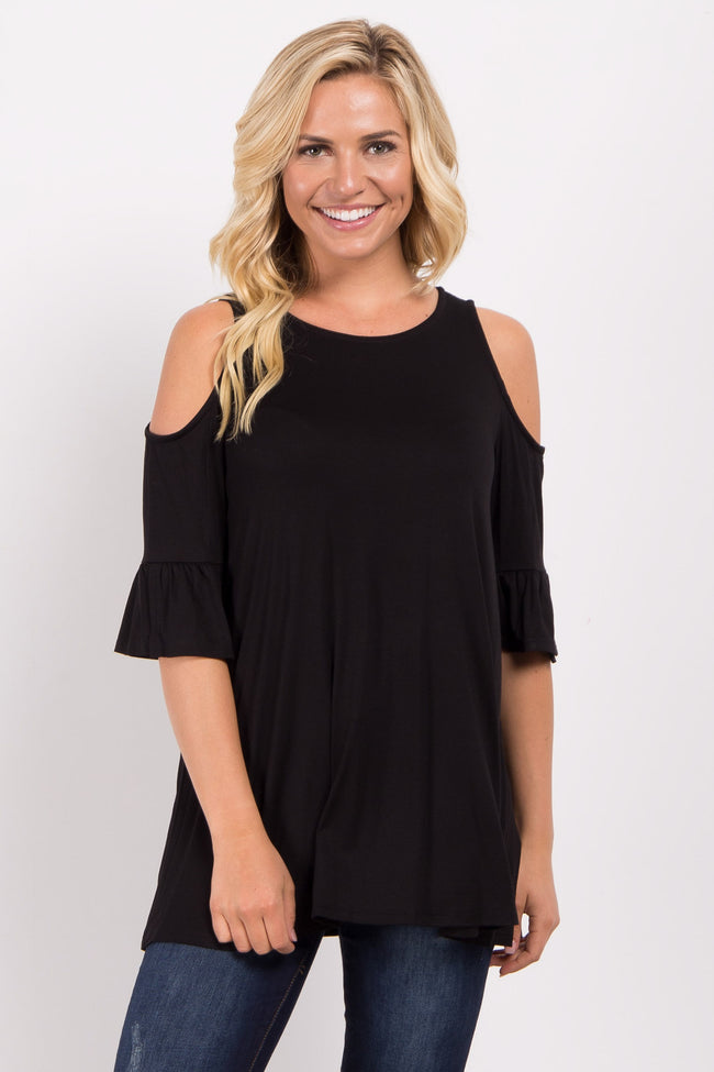 Black Cold Shoulder Ruffle Sleeve Maternity Top
