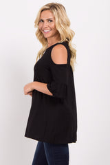 Black Cold Shoulder Ruffle Sleeve Top