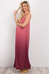 Coral Ombre Sleeveless Maternity Maxi Dress