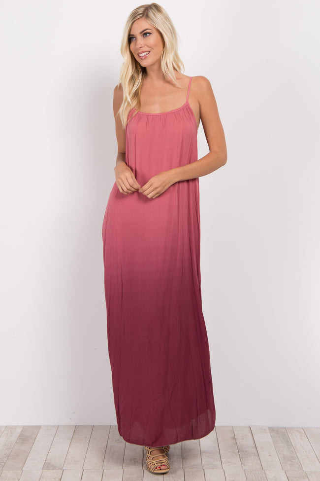 Coral Ombre Sleeveless Maxi Dress
