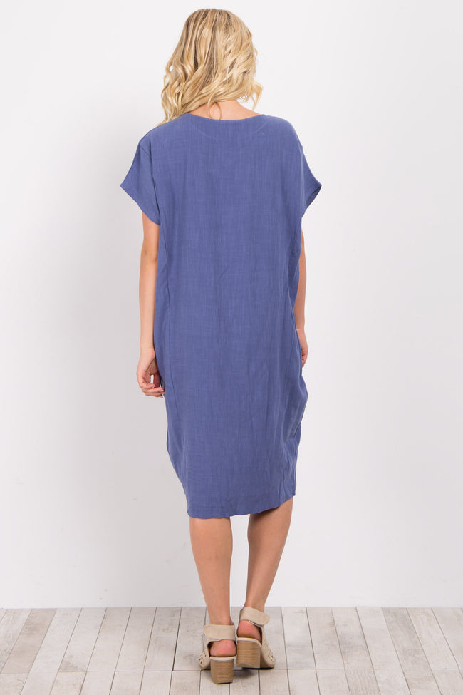 Blue Linen Pocket Midi Dress