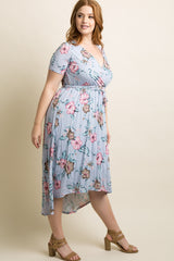 Lavender Hibiscus Floral Hi-Low Plus Wrap Dress