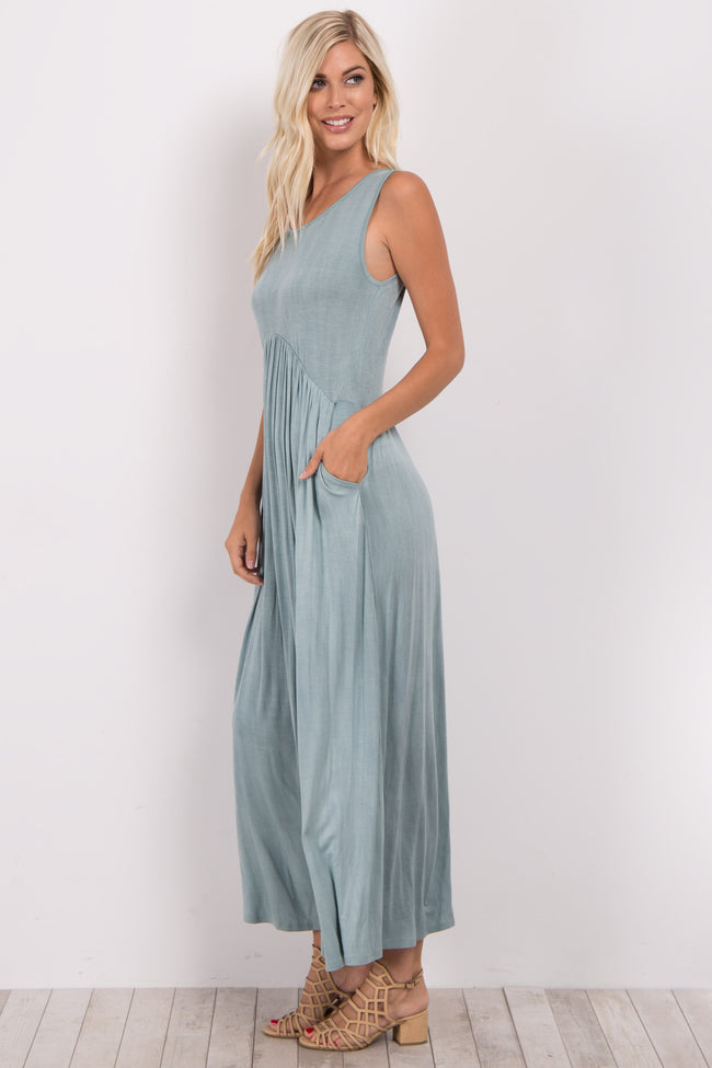 Light Olive Sleeveless Maxi Dress