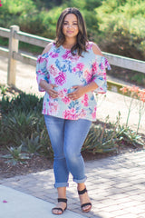 Mint Green Floral Sleeve Tie Plus Maternity Top