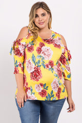 Yellow Floral Sleeve Tie Plus Maternity Top