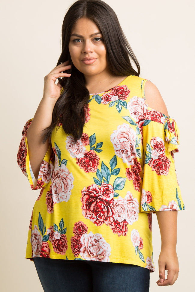 Yellow Floral Sleeve Tie Plus Top