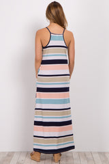 Navy Blue Striped Sleeveless Maternity Maxi Dress