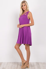 Magenta Sleeveless Cutout Dress