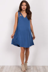 Blue Sleeveless Cutout Maternity Dress