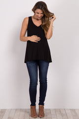 Black Strappy Back Maternity Tank Top